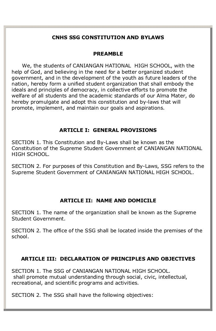 Cnhs ssg constitution and bylaws 1 for Church constitution template