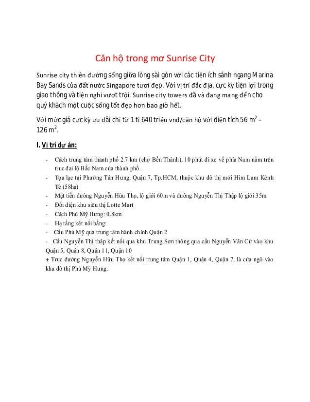 Căn hộ trong mơ Sunrise CitySunrise city thiên đường sống giữa lòng sài gòn với các tiện ích sánh ngang MarinaBay Sands củ...