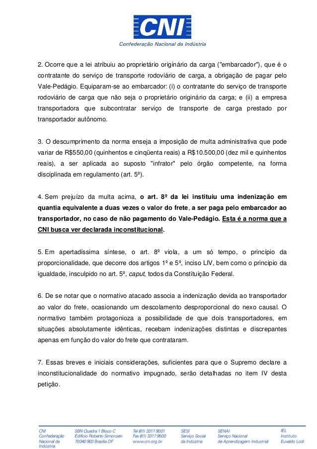 cni questiona lei que criou vale pedágio no transporte de cargas39634 Artigo 8 Da Constituicao Federal #15