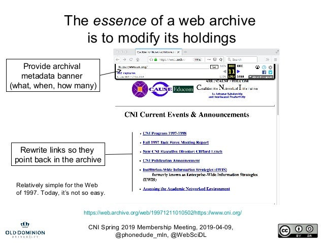 CNI Spring 2019 Membership Meeting, 2019-04-09, @phonedude_mln, @WebSciDL The essence of a web archive is to modify its ho...