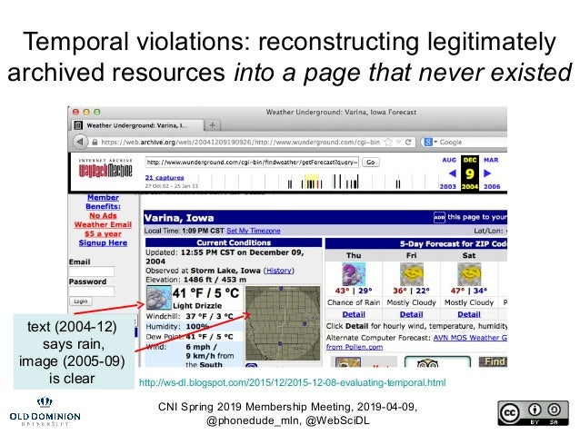CNI Spring 2019 Membership Meeting, 2019-04-09, @phonedude_mln, @WebSciDL Temporal violations: reconstructing legitimately...