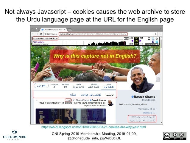 CNI Spring 2019 Membership Meeting, 2019-04-09, @phonedude_mln, @WebSciDL Not always Javascript – cookies causes the web a...