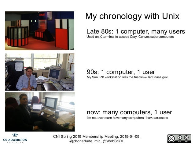 CNI Spring 2019 Membership Meeting, 2019-04-09, @phonedude_mln, @WebSciDL My chronology with Unix Late 80s: 1 computer, ma...