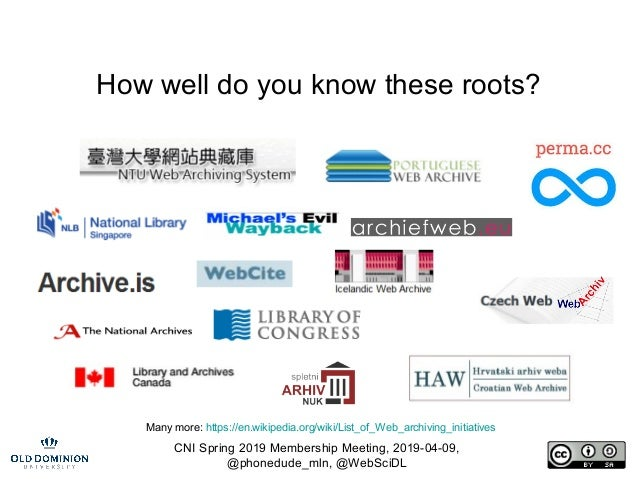 CNI Spring 2019 Membership Meeting, 2019-04-09, @phonedude_mln, @WebSciDL How well do you know these roots? Many more: htt...