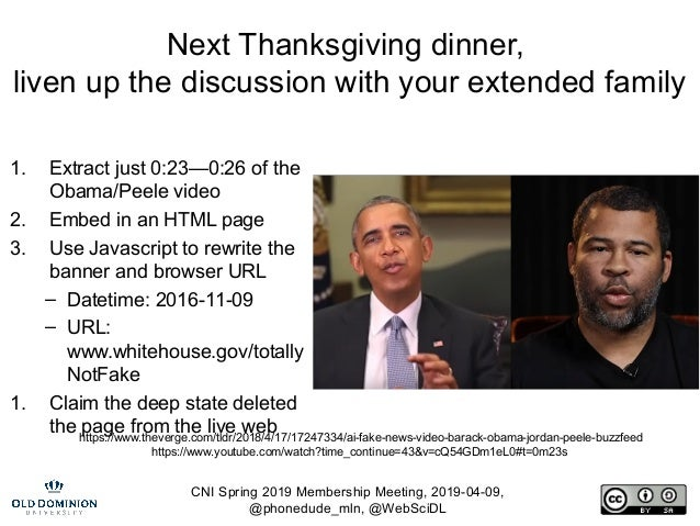 CNI Spring 2019 Membership Meeting, 2019-04-09, @phonedude_mln, @WebSciDL Next Thanksgiving dinner, liven up the discussio...