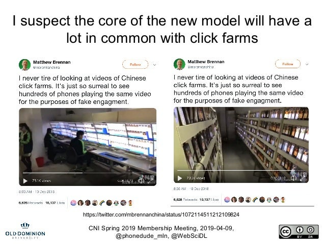 CNI Spring 2019 Membership Meeting, 2019-04-09, @phonedude_mln, @WebSciDL I suspect the core of the new model will have a ...