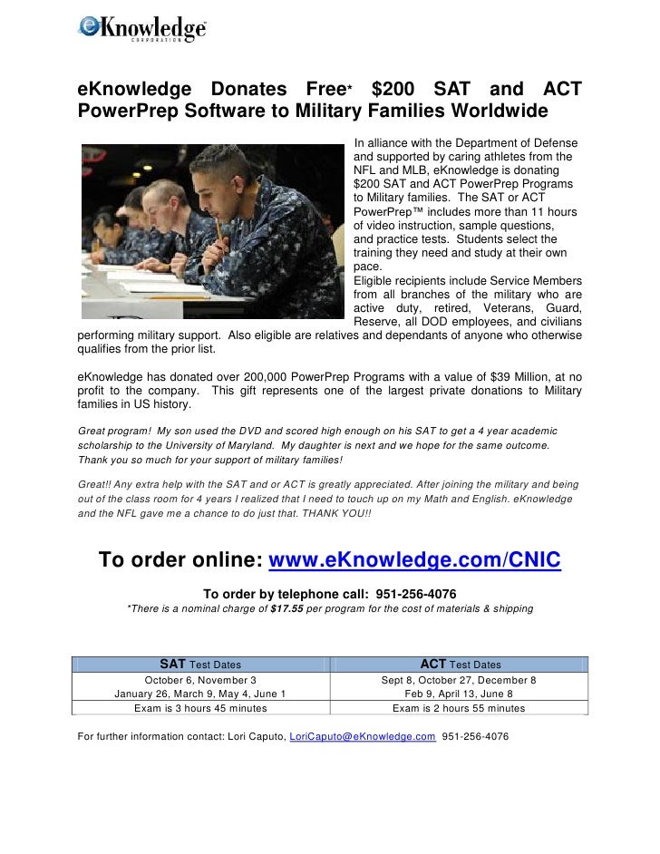 eKnowledge Donates Free* $200 SAT and ACTPowerPrep Software to Military Families Worldwide                                ...