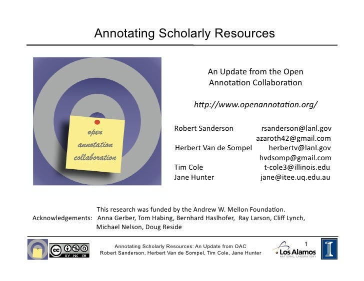 Annotating Scholarly Resources