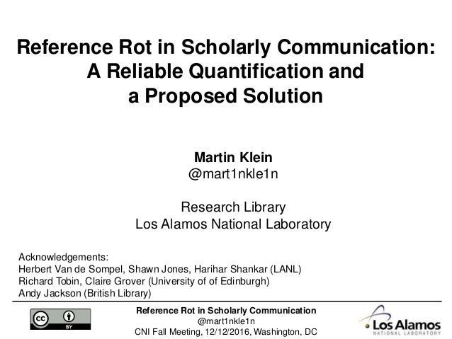Reference Rot in Scholarly Communication: A Reliable Quantification …
