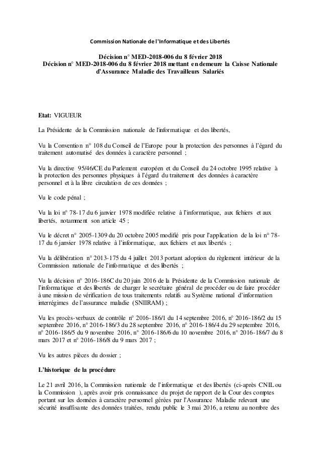 Commission Nationale de l'Informatique et des Libertés Décision n° MED-2018-006 du 8 février 2018 Décision n° MED-2018-006...