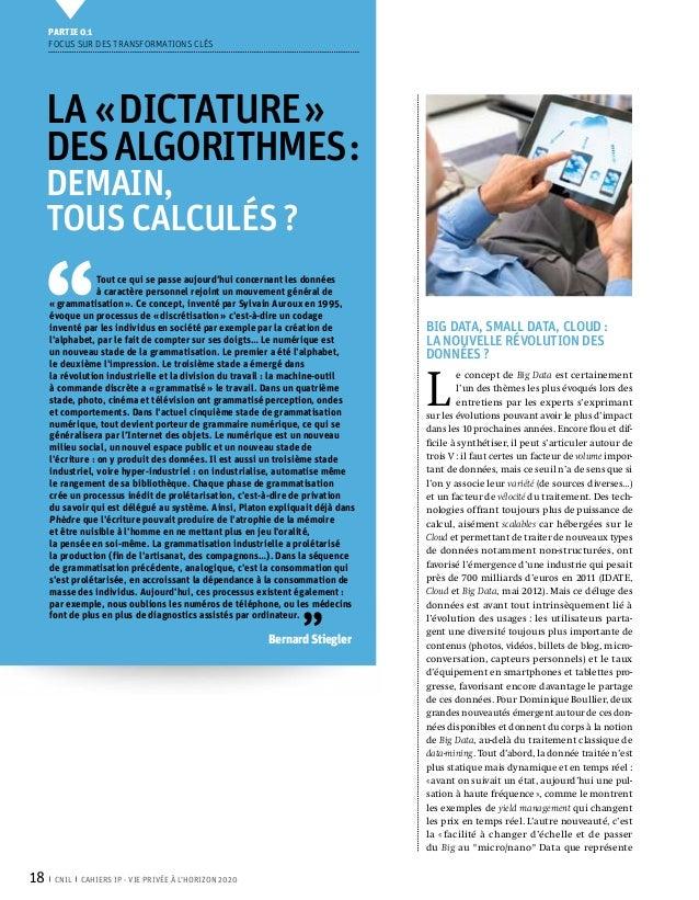 Partie 0 1     Focus sur des transformations clés     La «dictature»     desalgorithmes:     demain,     tous calculés...