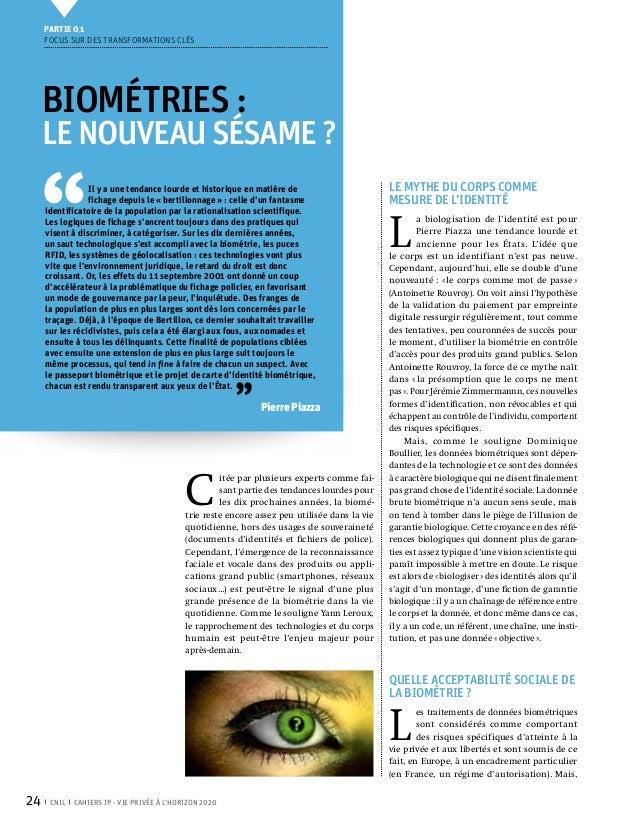 Partie 0 1     Focus sur des transformations clés     Biométries:     LE NOUVEAU SÉSAME? ''                 Il y a une t...