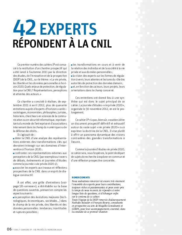 42experts     répondent à la CNIL          Ce premier numéro des cahiers IP est consa-      les transformations en cours...
