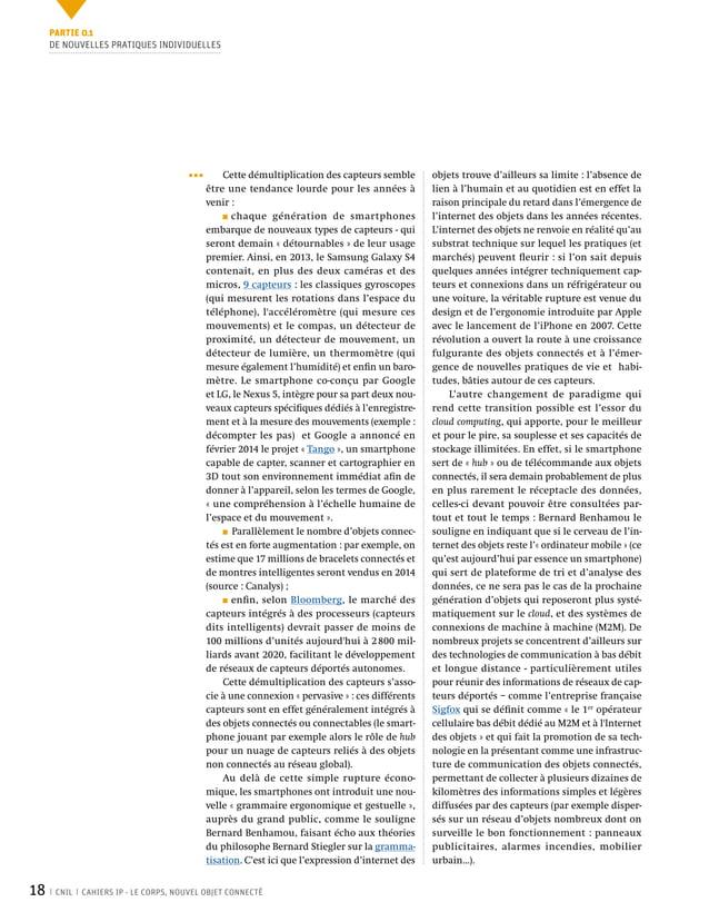 18 CNIL CAHIERS IP - LE CORPS, NOUVEL OBJET CONNECTÉ objets trouve d'ailleurs sa limite: l'absence de lien à l'humain et ...