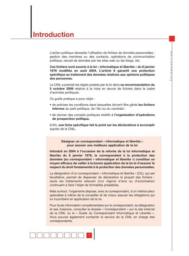 Introduction    L'action politique nécessite l'utilisation de fichiers de données personnelles :                          ...