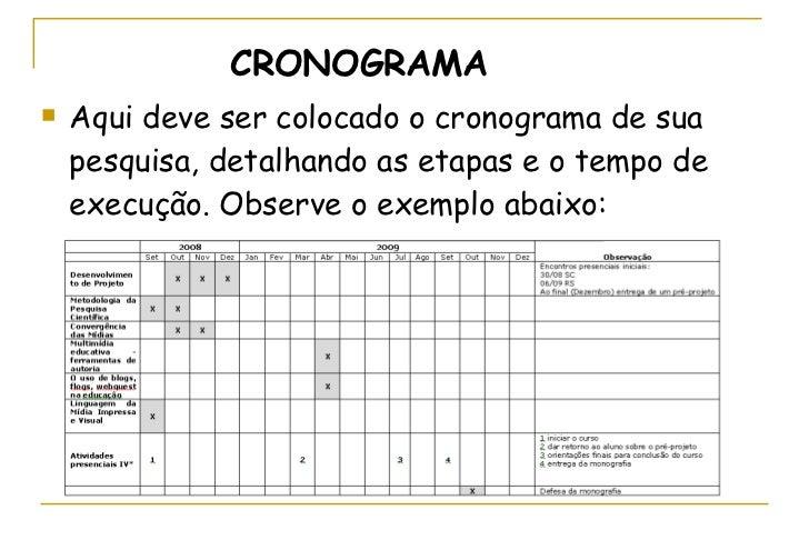 <ul><li>CRONOGRAMA </li></ul><ul><li>Aqui deve ser colocado o cronograma de sua pesquisa, detalhando as etapas e o tempo d...