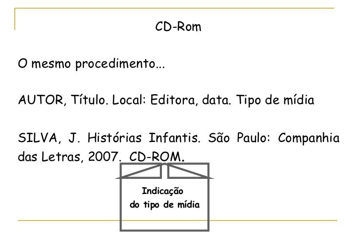 CD-Rom O mesmo procedimento... AUTOR, Título. Local: Editora, data. Tipo de mídia SILVA, J. Histórias Infantis. São Paulo:...