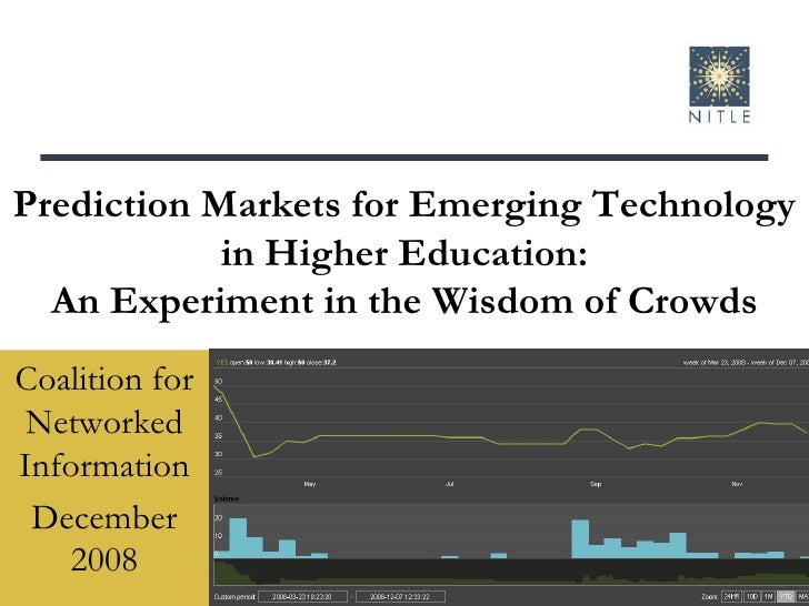 Prediction Markets for Emerging Technology in Higher Education: An Experiment in the Wisdom of Crowds Coalition for Networ...