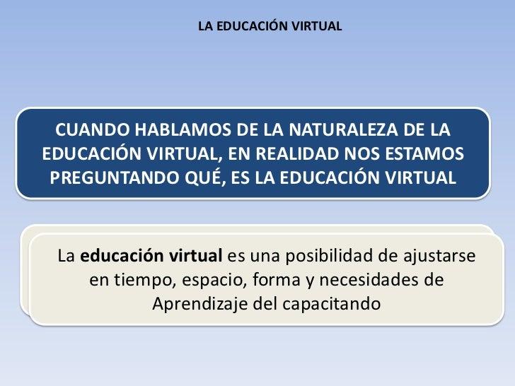 CUANDO HABLAMOS DE LA NATURALEZA DE LA<br />EDUCACIÓN VIRTUAL, EN REALIDAD NOS ESTAMOS<br />PREGUNTANDO QUÉ, ES LA EDUCACI...