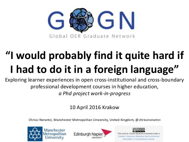 """I would probably find it quite hard if I had to do it in a foreign language"" Exploring learner experiences in open cross-..."