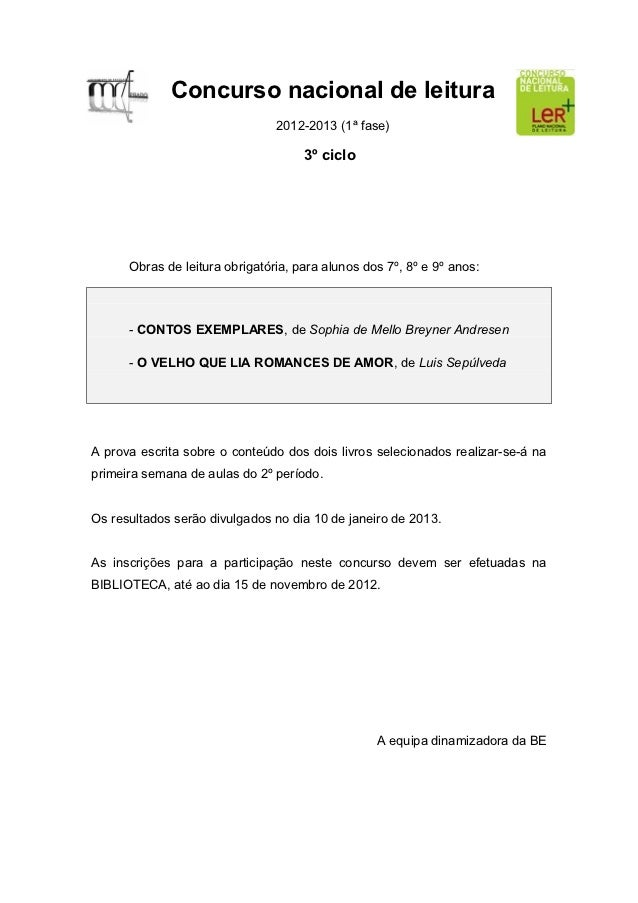 Concurso nacional de leitura                                2012-2013 (1ª fase)                                     3º cic...
