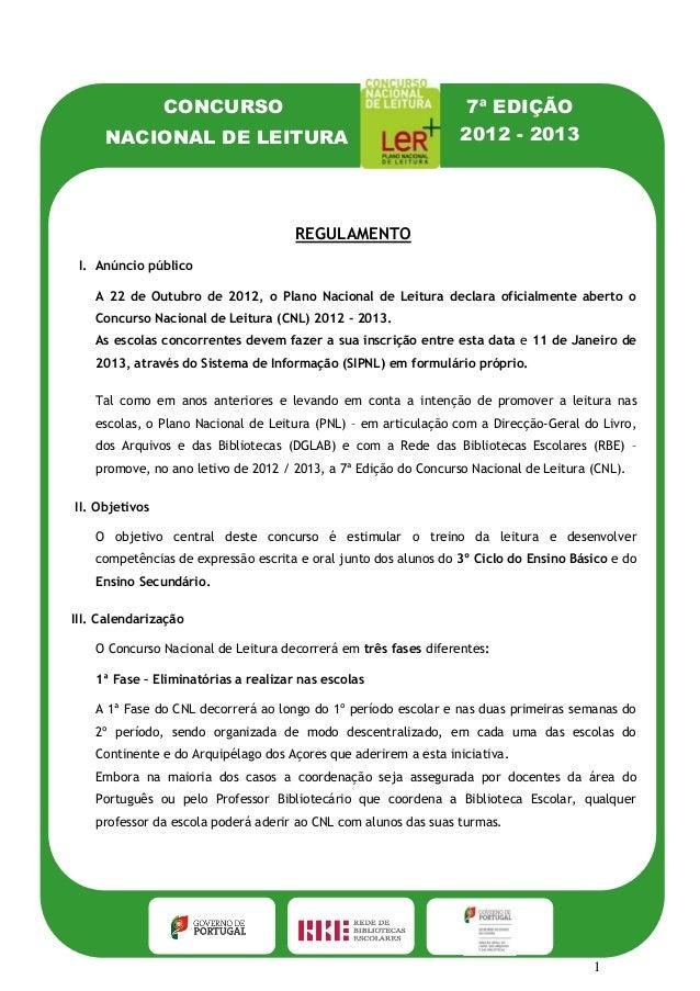 CONCURSO                                         7ª EDIÇÃO     NACIONAL DE LEITURA                                        ...