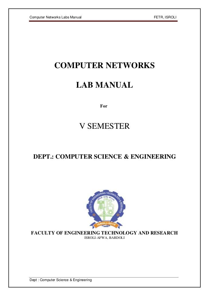 Computer Networks Labs Manual                          FETR, ISROLI              COMPUTER NETWORKS                        ...