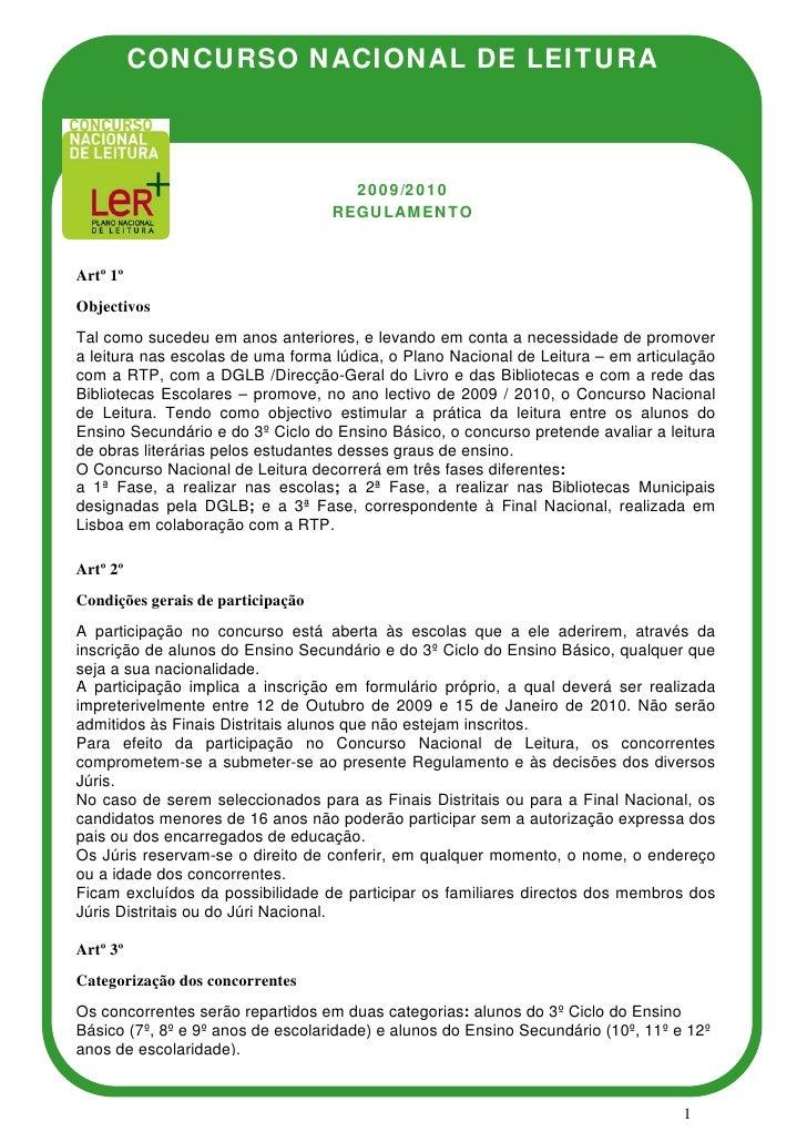 CONCURSO NACIONAL DE LEITURA                                         2009/2010                                    REGULAME...