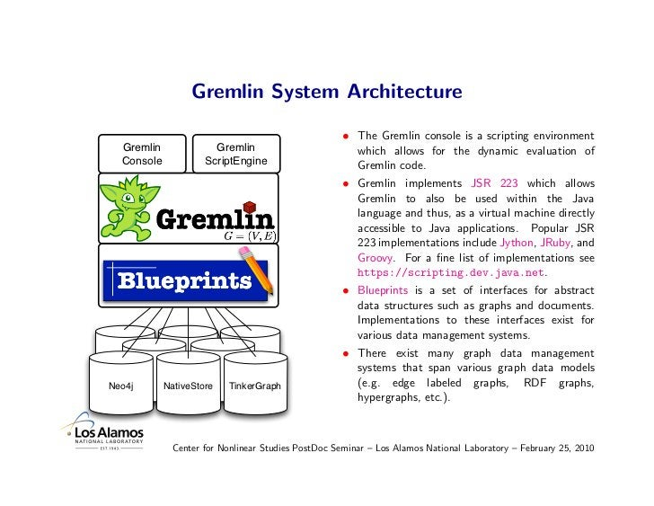 Gremlin System Architecture                                                      • The Gremlin console is a scripting envi...