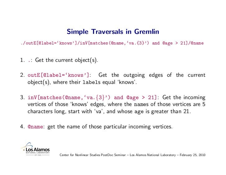 Simple Traversals in Gremlin ./outE[@label='knows']/inV[matches(@name,'va.{3}') and @age > 21]/@name   1. .: Get the curre...