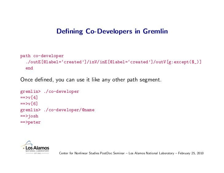 Defining Co-Developers in Gremlin   path co-developer   ./outE[@label='created']/inV/inE[@label='created']/outV[g:except($_...