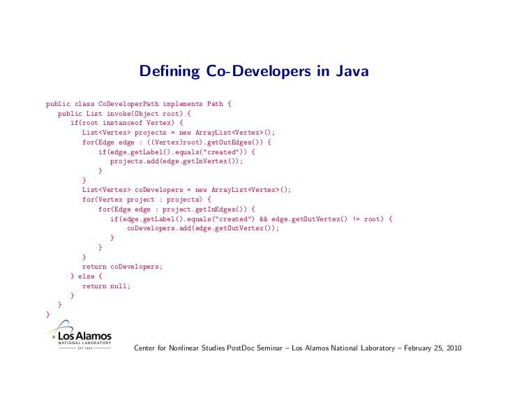 Defining Co-Developers in Java public class CoDeveloperPath implements Path {    public List invoke(Object root) {       if...