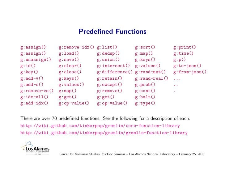 Predefined Functions  g:assign()        g:remove-idx()           g:list()                 g:sort()                  g:print...