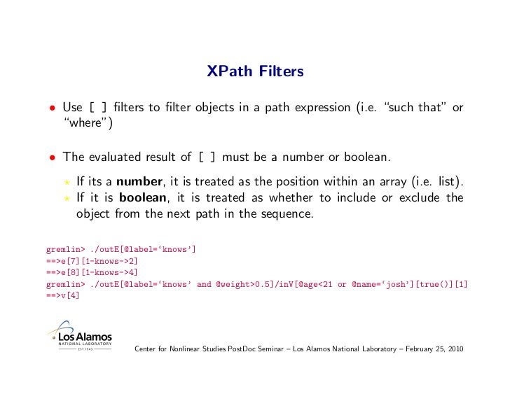 """XPath Filters  • Use [ ] filters to filter objects in a path expression (i.e. """"such that"""" or   """"where"""")  • The evaluated res..."""