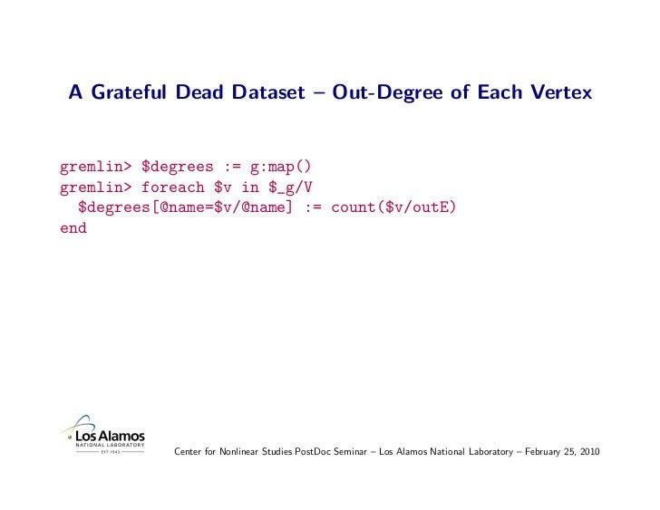 A Grateful Dead Dataset – Out-Degree of Each Vertex   gremlin> $degrees := g:map() gremlin> foreach $v in $_g/V   $degrees...