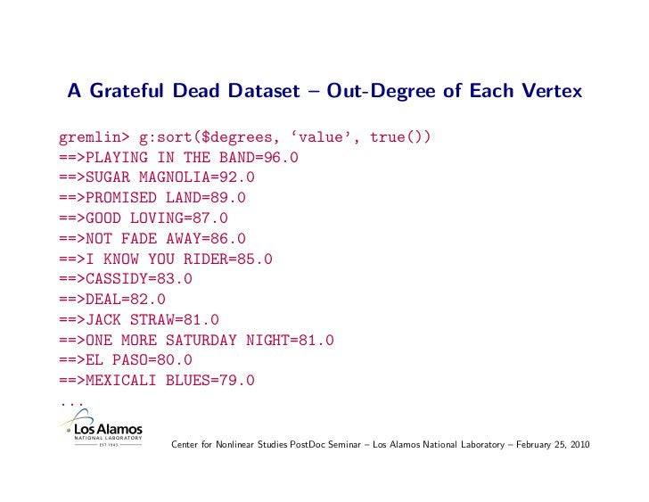 A Grateful Dead Dataset – Out-Degree of Each Vertex  gremlin> g:sort($degrees, 'value', true()) ==>PLAYING IN THE BAND=96....