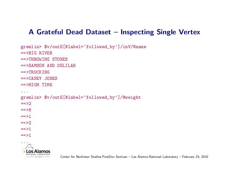 A Grateful Dead Dataset – Inspecting Single Vertex gremlin> $v/outE[@label='followed_by']/inV/@name ==>BIG RIVER ==>THROWI...