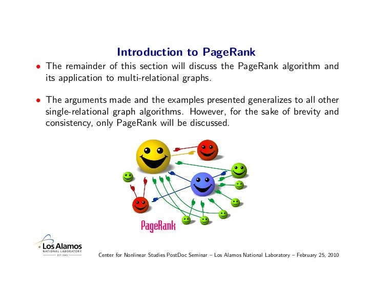 Introduction to PageRank • The remainder of this section will discuss the PageRank algorithm and   its application to mult...