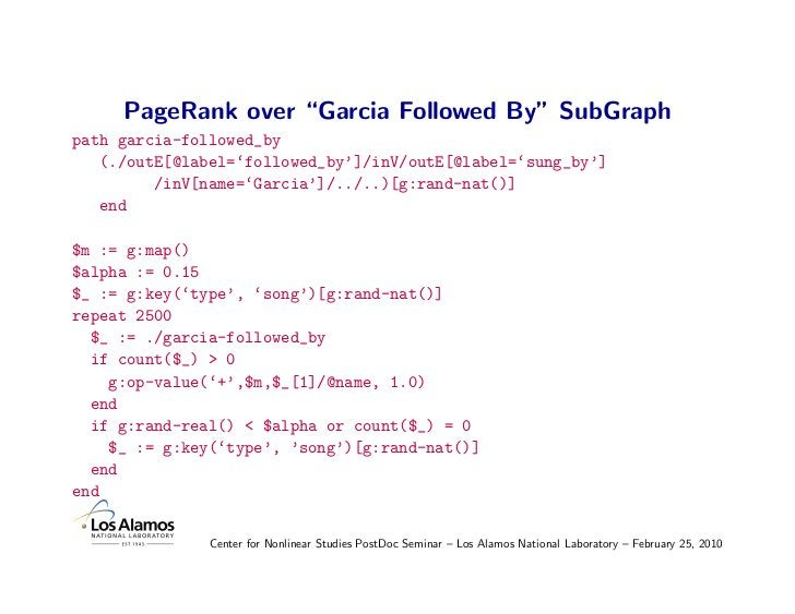 """PageRank over """"Garcia Followed By"""" SubGraph path garcia-followed_by    (./outE[@label='followed_by']/inV/outE[@label='sung..."""
