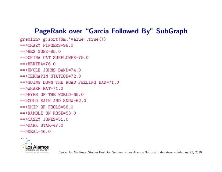 """PageRank over """"Garcia Followed By"""" SubGraph gremlin> g:sort($m,'value',true()) ==>CRAZY FINGERS=98.0 ==>HES GONE=85.0 ==>C..."""