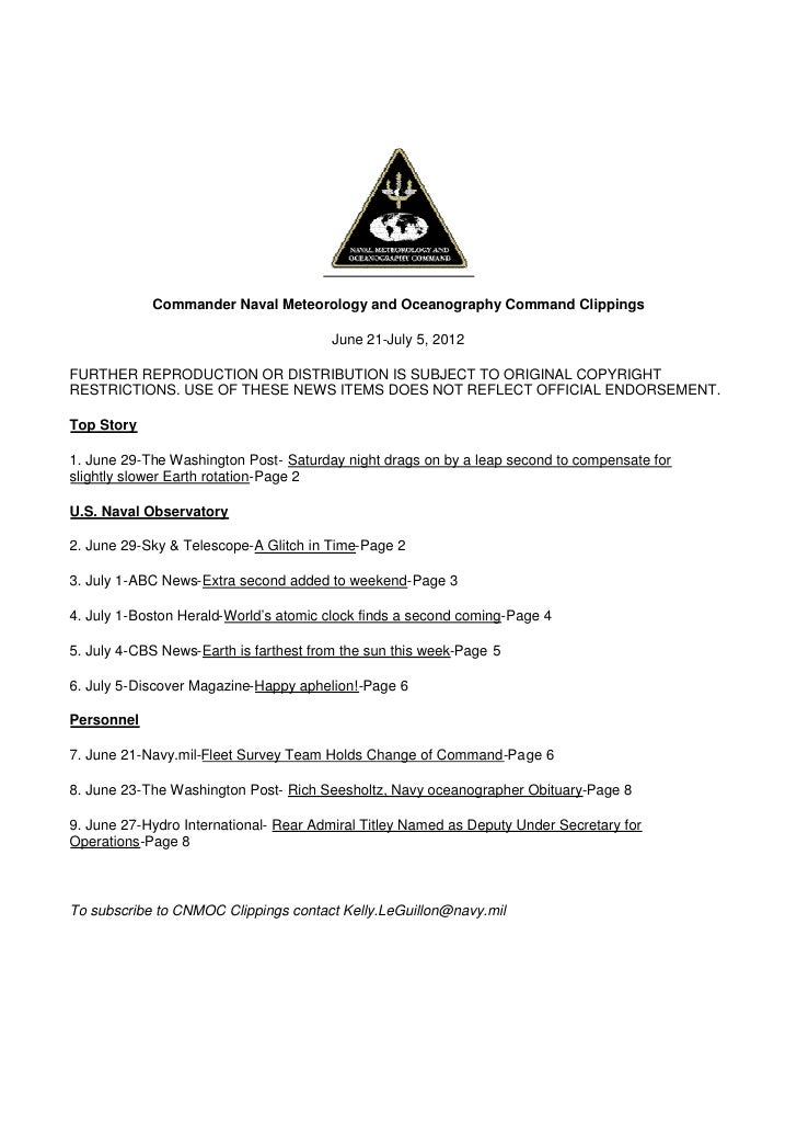 Commander Naval Meteorology and Oceanography Command Clippings                                        June 21-July 5, 2012...