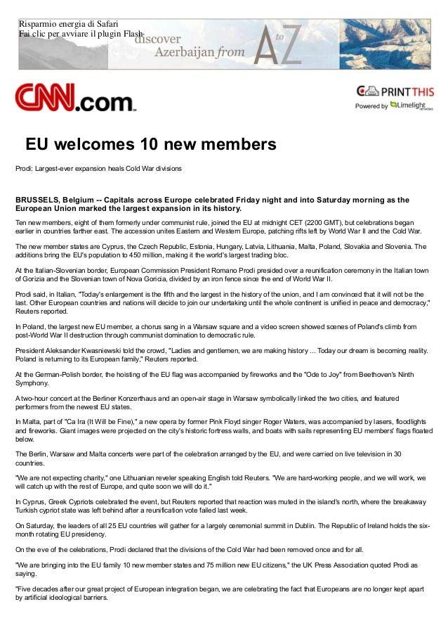 Risparmio energia di Safari Fai clic per avviare il plugin Flash Powered by EU welcomes 10 new members Prodi: Largest-ever...