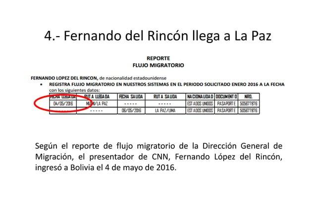 7.- Fernando del Rincón deja Bolivia Según el reporte de flujo migratorio de la Dirección General de Migración, el present...