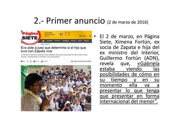 2.- Primer anuncio (2 de marzo de 2016) • El 2 de marzo, en Página Siete, Ximena Fortún, ex socia de Zapata e hija del ex ...