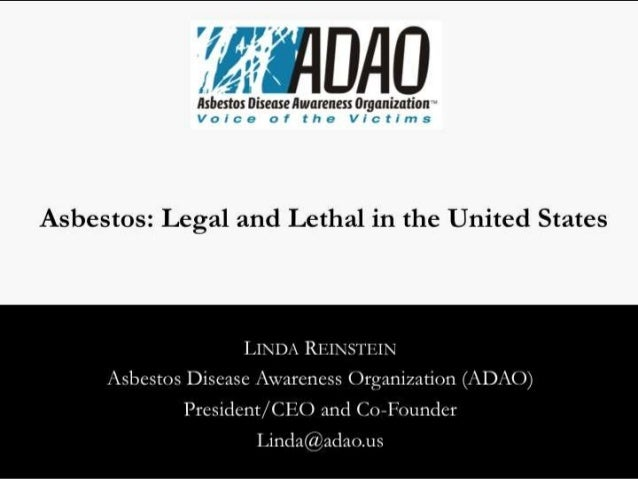 """Reinstein: """"Asbestos: Legal and Lethal in the United States"""" (2014)"""
