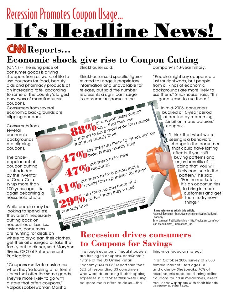 Recession Promotes Coupon Usage... nomic shock gives rise to coupon cutting - CNN.com                               http:/...