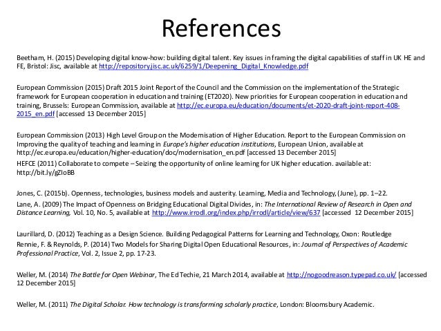 References Beetham, H. (2015) Developing digital know-how: building digital talent. Key issues in framing the digital capa...