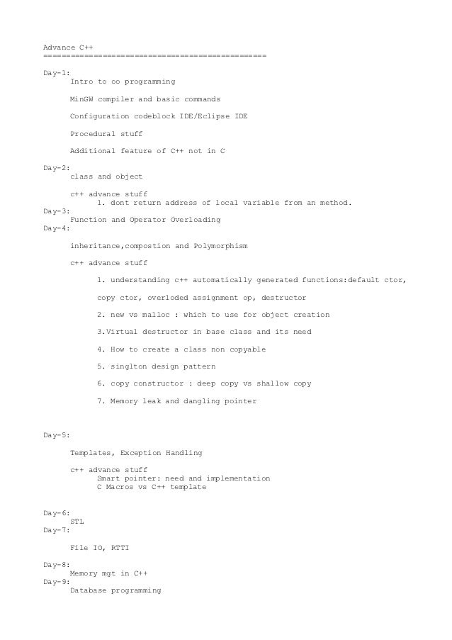 Advance C++=================================================Day-1:      Intro to oo programming     MinGW compiler and bas...