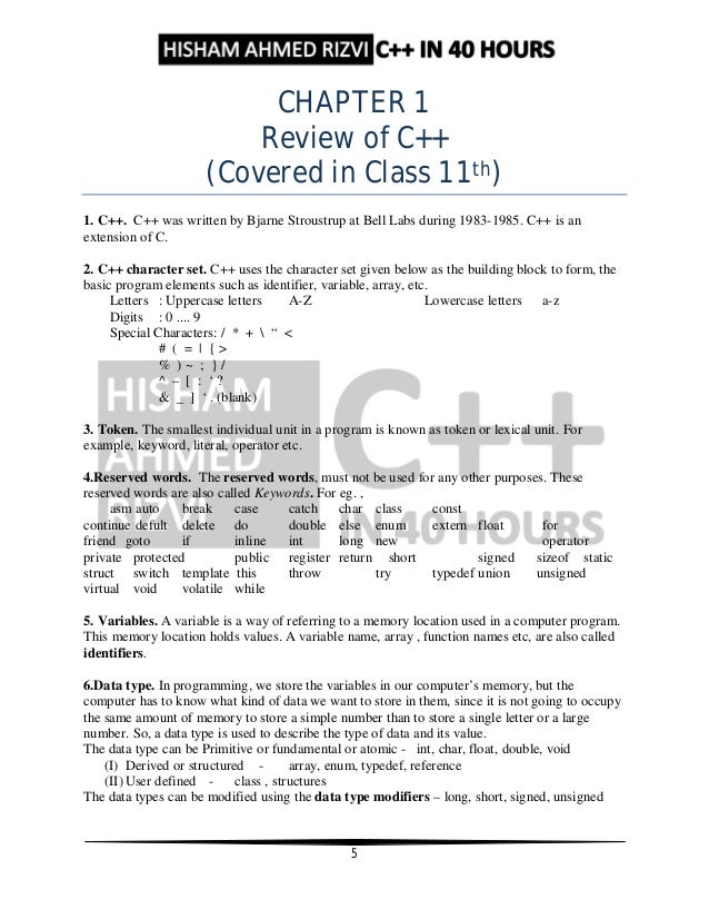 C++ Notes by Hisham Ahmed Rizvi for Class 12th Board Exams