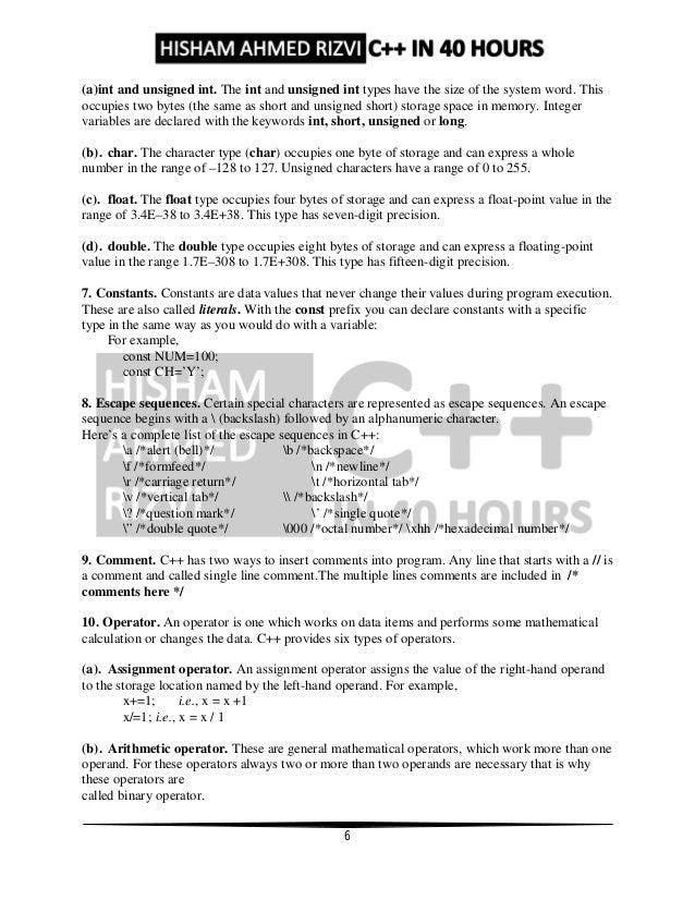 C++ Notes by Hisham Ahmed Rizvi for Class 12th Board Exams